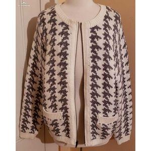 Old Navy Houndstooth Zip Up Cardigan Sweater